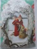St. Nikolaus füllt den Geschenksack